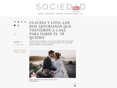 Revista HOLA publica la boda de Claudia y Lito